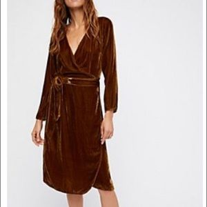 Free People - Velvet One Dance Wrap Dress - Golden